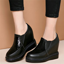 Women Cow Leather Wedges Platform High Heel Ankle Boots Round Toe Low Top Pumps Punk Oxfords Creepers Shiny Glitter Trainers Hot