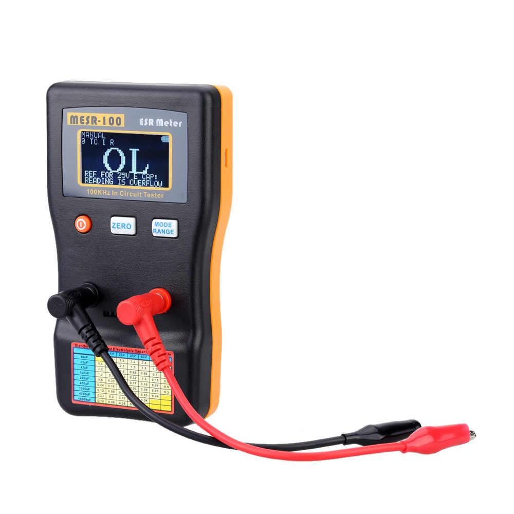 MESR-100 ESR السعة أوم متر قياس السعة المقاومة مكثف جهاز فحص الدائرة الكهربائية