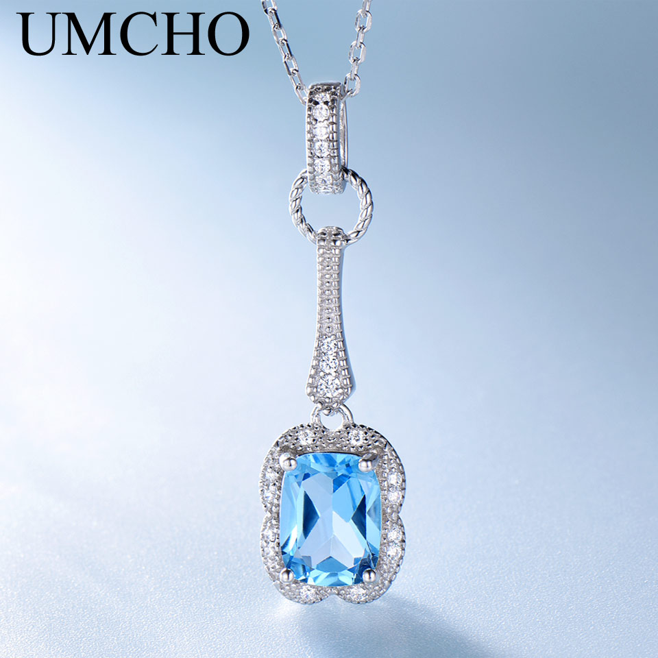 UMCHO Natural Blue Topaz Gemstone Pendants Necklaces For Women 925 Sterling Silver Trendy Fashion Jewelry Party Wedding Gift New