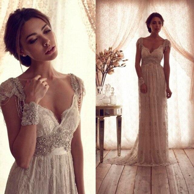 Hot Salling Vestido De Novia 2016 Vintage Wedding Dress Sheer Lace Anna  Campbell Bridal Gown Lace Backless Church Wedding Gown ed7c7ca3a6af