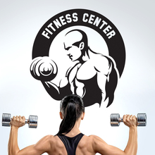Gym Sticker Fitness Dumbbells Crossfit Muscle Decal Body-building Posters Vinyl Wall Decals Parede Decor Gym Sticker JSL010
