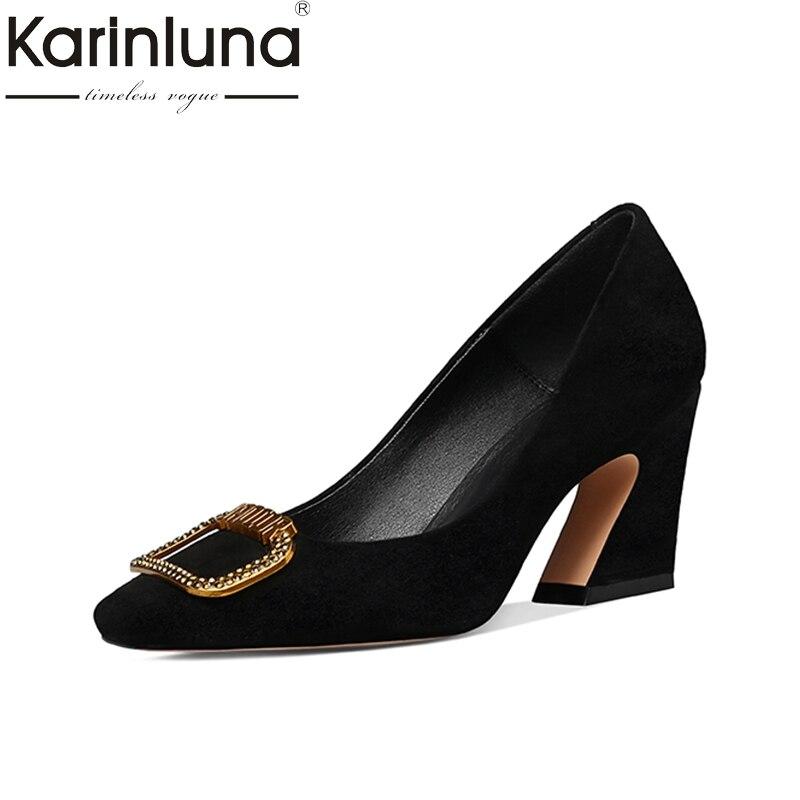 KarinLuna натуральная кожа 2018 малыш замши большой размер 33-42 скольжения на копыт каблуки женская обувь женщина насосы обувь