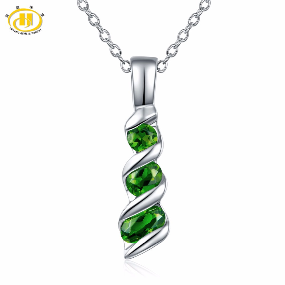 Hutang Women's Pendant 0.58ct Natural Gemstone Chrome Diopside Solid 925 Sterling Silver Chain Fine Elegant Green Jewelry Gift