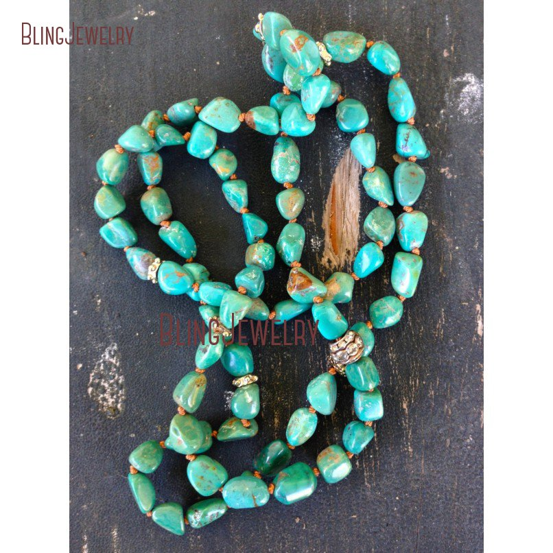 Bohemian Glam Hand Knot Howlite Nugget  Beaded Necklace Long Turquoises Nugget Beauty Necklace NM20613