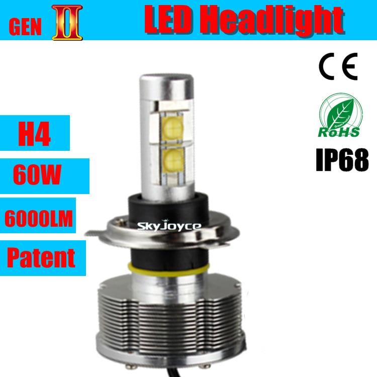 ФОТО 2x 30W per blub LED Headlight Conversion Car Kit H4 hi lo spot beam /flood beam 3000LM 12V24V 6000K h4 led HEADLAMP