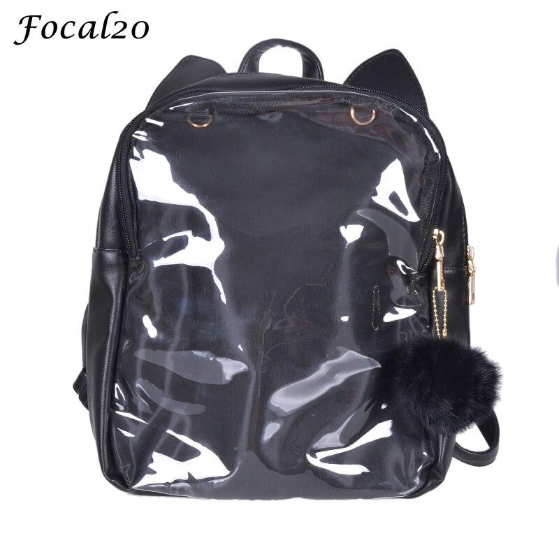 focal20 harajuku cute cat ear transparent ita bags pu