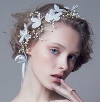 Floral Flowers Pearl Bridal Headpieces Wedding Fabric Hairbands Head Jewelry For Bride Party Prom Hair Jewelry