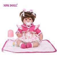 NPKDOLL 42 cm Soft Silicone Doll Adorable bonecas princesas Realistic brinquedos bonecas Dolls for girls kids playmate toy