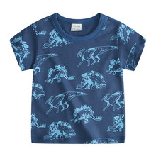 Kids Printed Dinosaur T-shirt Stripe T Shirt 2019Brand Designer Boy Clothes Fortnight Shirt Minecraft Clothes Baby Shark Clothes(China)