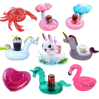 YUYU nadmuchiwany uchwyt na kubek jednorożec Flamingo uchwyt na napoje pływanie pływający w basenie kąpiel zabawka basenowa Party pasek dekoracyjny podstawki tanie i dobre opinie WOMEN I0000 Pink white blue Flamingo rainbow unicorn mushroom coconut tree 18*7cm Adult Children Party Cute 0 18mm