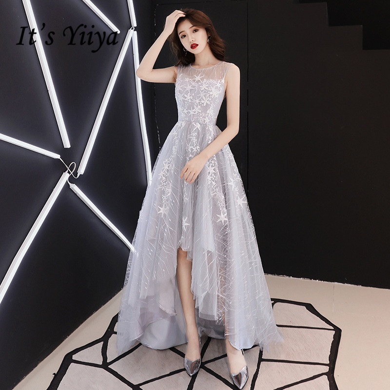 It's YiiYa   Prom     Dress   Gray Stars Print High Low Style Sexy Illusion Party   Dresses   O-neck Sleeveless Zipper Formal Gowns E007