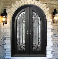 Sprzedaż hurtowa kutego żelaza drzwi wejściowe żelazne żelaza podwójne drzwi wejściowe żelazne żelaza drzwi wejściowe żelazne żelaza drzwi wejściowe na sprzedaż hc15