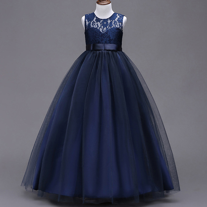 2019 Evening Long Princess Dress First Communion Dress Girls Flower Wedding Clothing Kids Ball Gown Baby Fluffy Elegant Costume