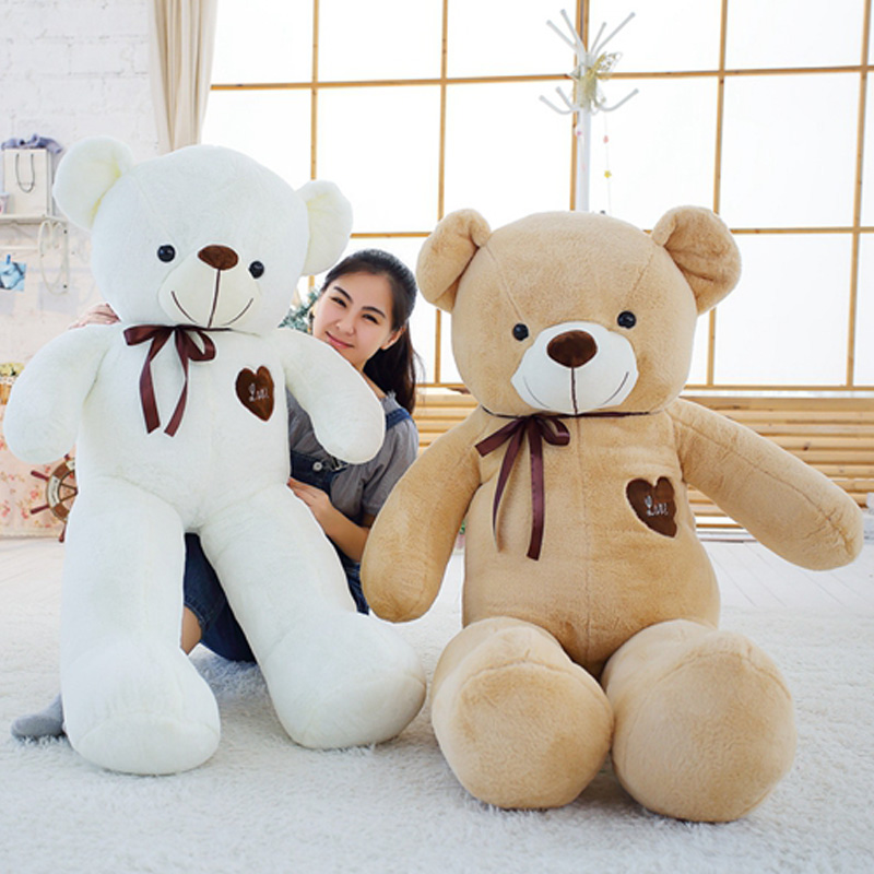 Soft Big Teddy Bear Stuffed Animal Plush Toy With Ribbon Large Bears For Kids Giant Pillow Dolls Girlfriend Gift 120cm to 180cm high quality 180cm big giant sweater tactic plush stuffed toy llf teddy bear soft bears baby girls doll birthday gift pillow