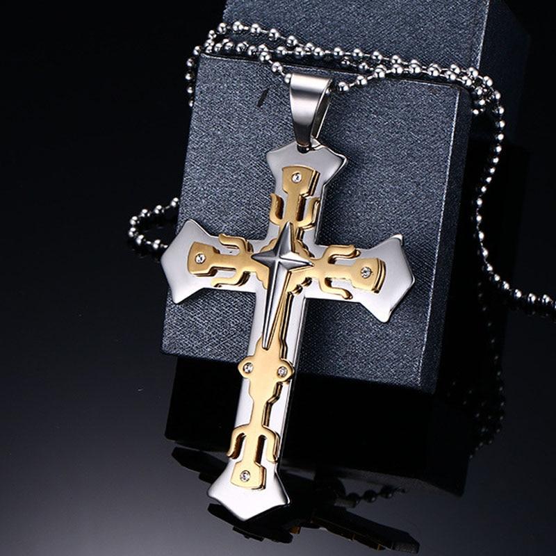 Vintage Titanium Steel Cross Pendant Necklace for Men Women Gold Tone