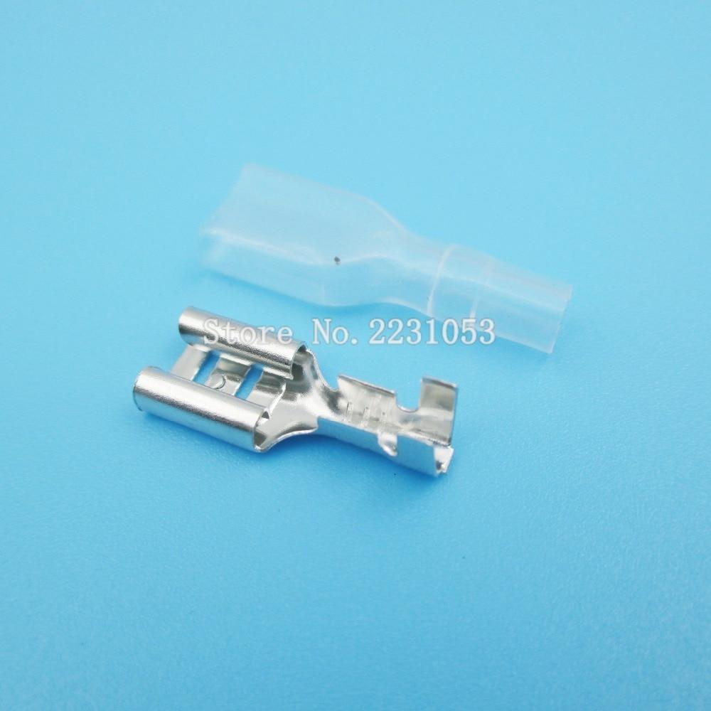 200PCS/LOT 100Set 6.3mm Crimp Terminal Splice Female Spade Connector Splice With Case