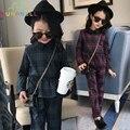 Tela Escocesa Del Estilo británico Brand Clothing Set Girls 2017 Nueva Primavera Algodón de moda Adolescente Niñas Jersey y Pantalones de Los Cabritos Niños Set L323