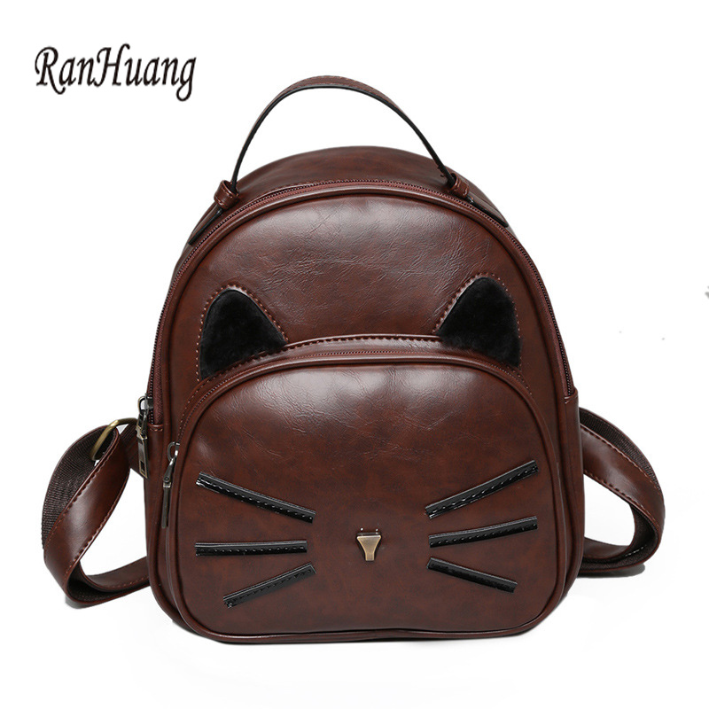 Ranhuang New 2017 Women Cute Cat Backpack Pu Leather Women's Small Backpack Preppy Style Vintage Bags For Teenage Girls A673