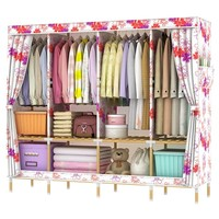 Large Fabric Wardrobe Folding Clothes Closet Storage 200x170x45cm Wooden Frame cloth Cabinet portable Wardrobe furniture B476