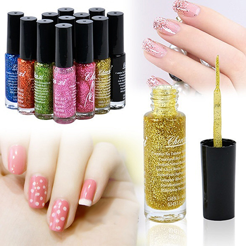 Hot 12 x 10ml Fluorescent Nail Art Polish Liner Brush Pen Nail Varnish Nail Enamel