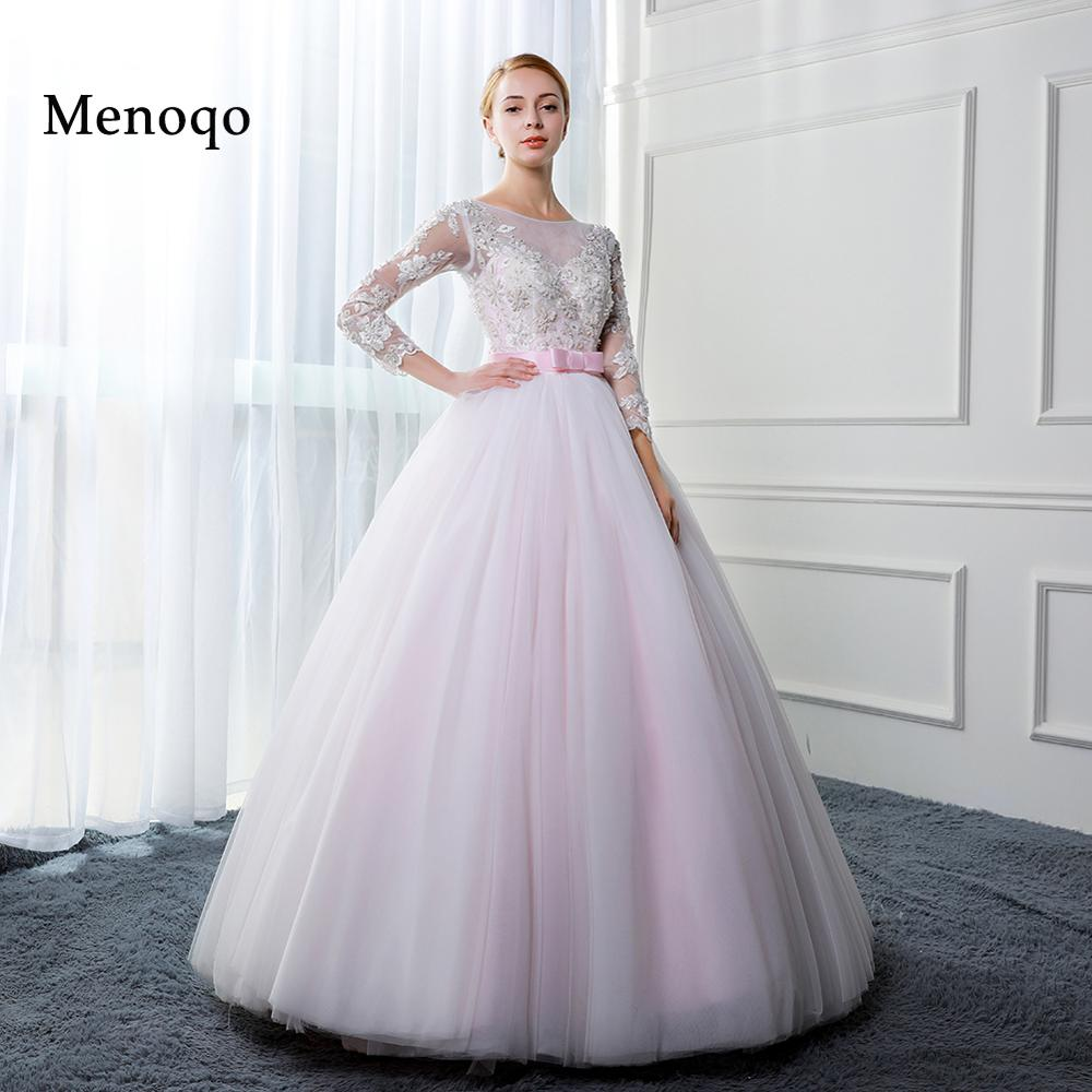 Beautiful Wedding Ball Gowns: Menoqo Beautiful Ball Gown Pink Wedding Dresses 2018 Real