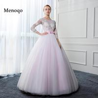 Menoqo Beautiful Ball Gown Pink Wedding Dresses 2017 Real Photo Appliques Tulle Long Sleeves Bridal Gowns