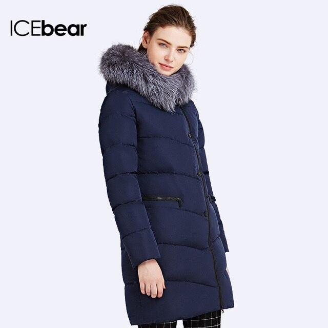 ICEbear 2016 Пушистый воротник из меха чернобурка Двухсторонняя застежка-молния Модель пуховика Куртка ветрозащитная 16G6187
