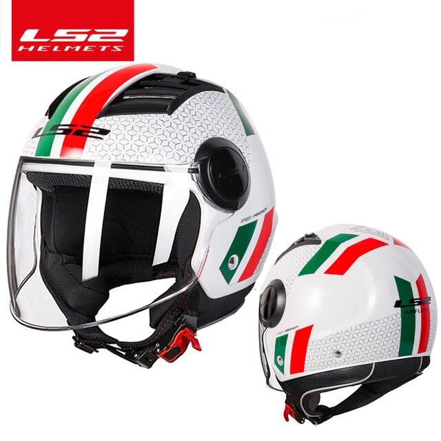 LS2 casco de moto con flujo de aire para verano, Moto jet de media cara, capacete, LS2 OF562