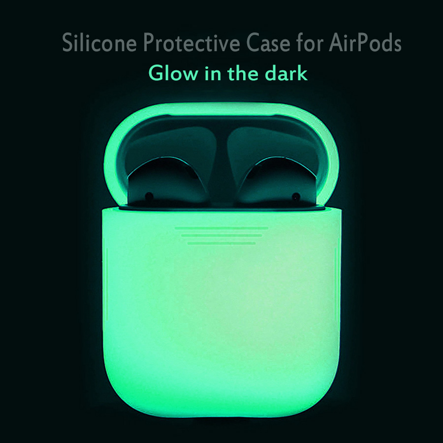 Til Apple AirPods Case Glød i Mørk Silikone Anti Lost Protector Æske Pouch Cover til AirPods Eretelefon Luminous Case