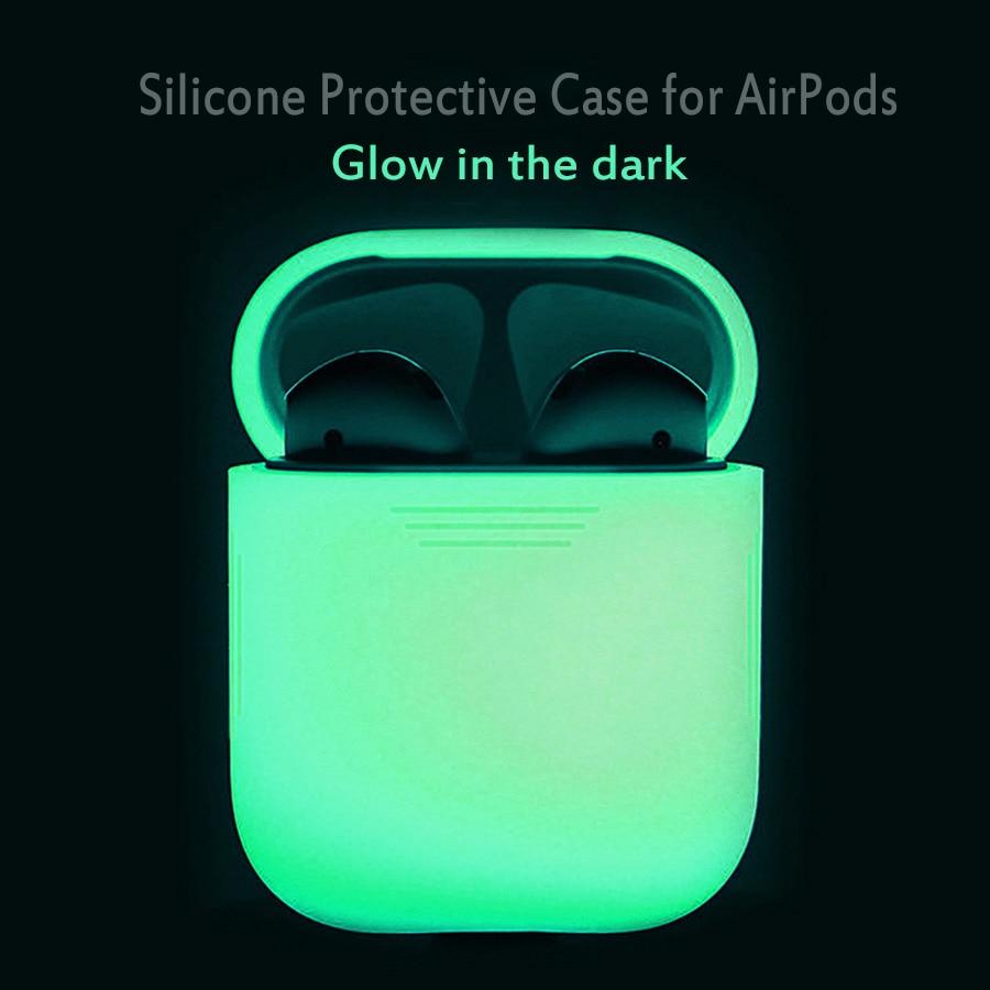 Apple AirPods- ის შემთხვევაში Glow მუქი სილიკონის საწინააღმდეგო დაკარგული დამცავი ყდის პუჩის საფარით AirPods ყურსასმენის სანათურით