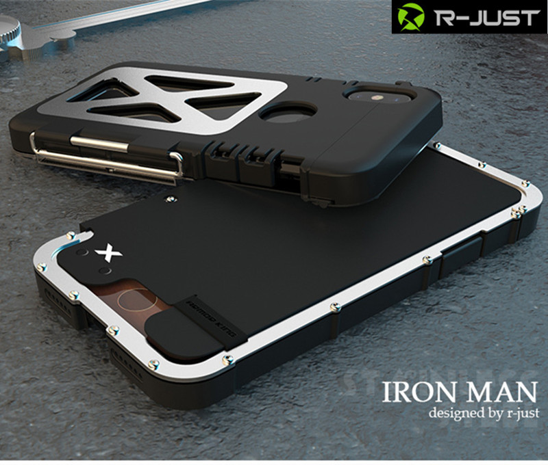 R JUST Stainless Steel Flip Metal Case For IPhone X Outdoor Sport ShockProof Flip Case Cover In