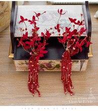 1pair new red flower beads tassel brides Barrette hair ornaments wedding headdress