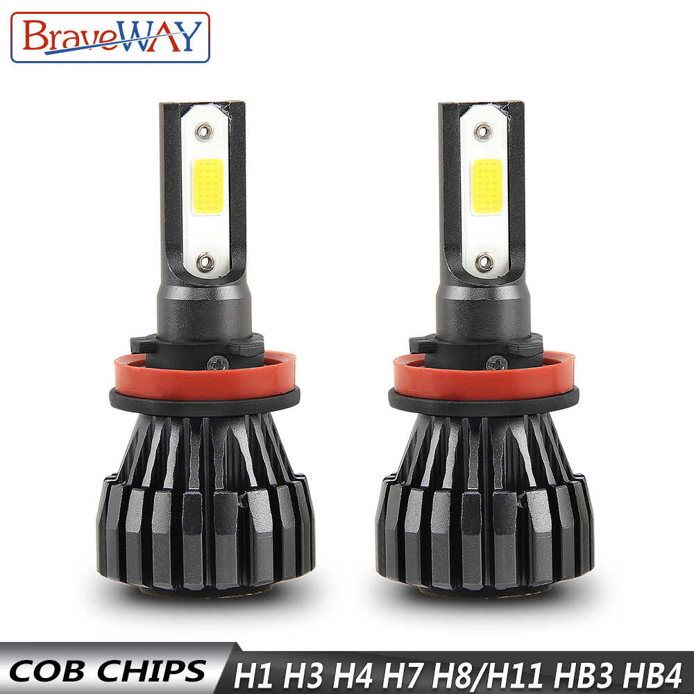 BraveWay 12V Car Headlight Bulbs H7 LED Lamps H11 H4 H1 H8 H9 HB3 HB4 9006 H3 LED Bulbs