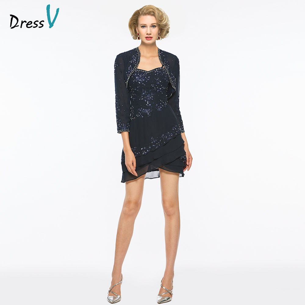 Dressv Dark Navy Spaghetti Straps Sheath Mother Of Bride Dress With 3/4 Sleeves Appliques Long Mother Evening Gown Custom Size