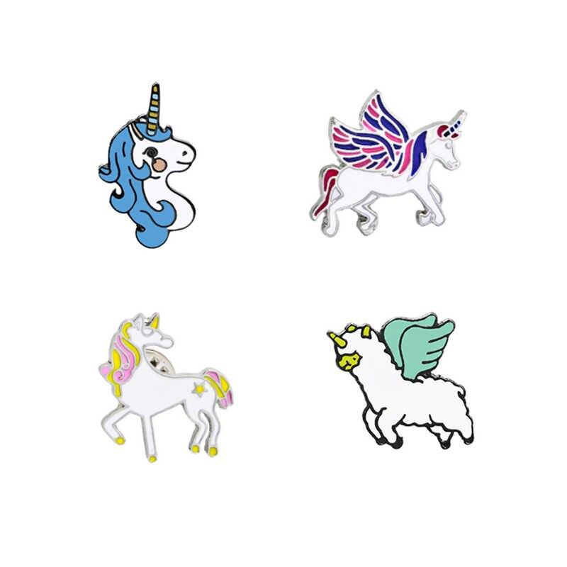 クリエイティブ漫画ペガサス馬ブローチピン美しいかわいい動物エナメルブローチ襟デニム装飾男性女性のための