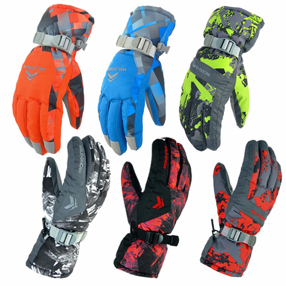 Mens ski gloves xxl - Winter Outdoor Men Ski Gloves Snowboard Snowmobile Motorcycle Gloves Skiing Riding Climbing Snow Waterproof Gloves Pyg