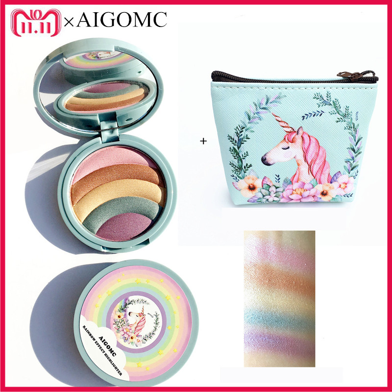 AIGOMC Unicorn Glow Kit Highlighter 5 Colors Highlighter Palette Face Contour Rainbow Highlighter With cosmetic bag Makeup Set essence prismatic rainbow glow highlighter 10 цвет 10 be a unicorn variant hex name f4d683