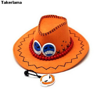 Takerlama One Piece Portgas D ace Cowboy Hat Cosplay Hats Pirates Cap Suede Costume