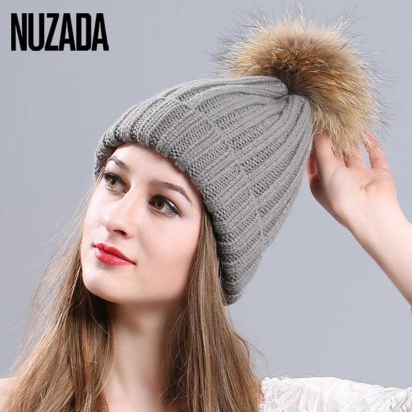 Brand NUZADA Women Girl's Skullies Beanies Cap  Top Fox Fur Ball Cotton Yarn Knit knitted Caps Winter Thick Warm Bonnet Hat women cap skullies