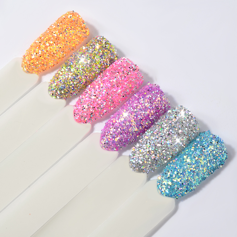 6pcs/set Laser Nail Glitter Decorations Set Shiny 3D Ultra-fine Art Sequin Powders DIY