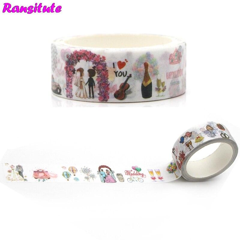 Ransitute R365 Dream Wedding Washi TapeDIY Book Pocket Detachable Sticker Romantic Japanese Office Decorative Tape