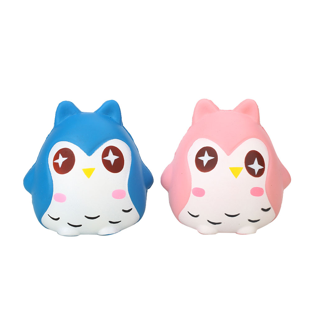 Relieve Stress Owl Squishy Doll Cute Owl Squishy Cute Soft PU Owl Squeeze Toy Pink Yellow Blue Hand Squeezing Dolls Accessories
