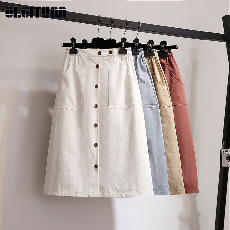 New 2020 Summer Skirts Korean Students Skirts Small Fresh Solid Single-breasted High Waist Mid Knee Length A-line School Skirt