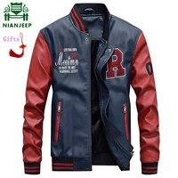 Jacket Men Embroidery Baseball Jackets Pu Faux Leather Coats Slim Fit Zipper Casual College Luxury Fleece Pilot Leather Jackets