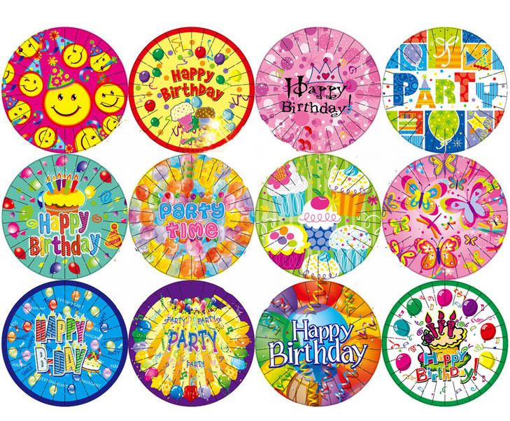 7\  Happy Birthday Designs Round Paper Plate Party Decorations Disposable Plates Christmas New Year-in Disposable Party Tableware from Home \u0026 Garden on ...  sc 1 st  AliExpress.com & 7\