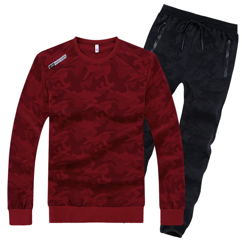 2019 Fashion Spring Autumn Men Sporting Suit Sweatshirt+Pant Sportswear 2 Piece Set Camouflage Tracksuit Set For Men Clothes 8XL