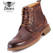 DESAI New Bullock Men's Boots Shoes Genuine Leather Shoes Man Casual High-top High Boots Lace-up Western Boots Round Toe Shoes недорого