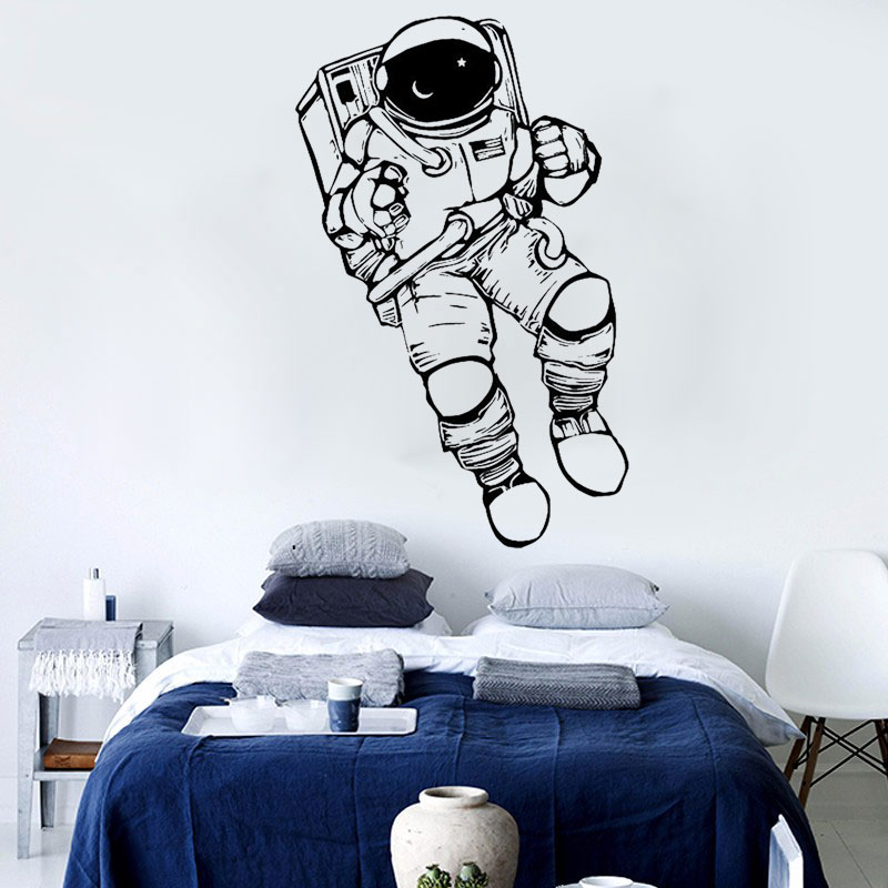 Weltraum Aufkleber Cosmonaut Astronaut Wandtattoo Kinderzimmer Dekor Kunst Aufkleber Spaceman Vinyl Weltraum Kindergarten Raum Wandtattoo D Outer Space Nursery Wall Decaldecoration Art Aliexpress