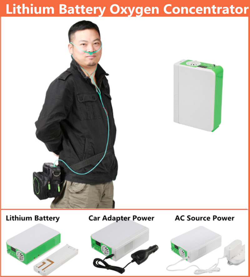 Lithium Battery DC12V Oxygen Concentrator 110V 220V PSA Technology Mini Oxygen Generator Oxygen Making Machine Air Purifier medical oxygen concentrator for respiratory diseases 110v 220v oxygen generator copd oxygen supplying machine