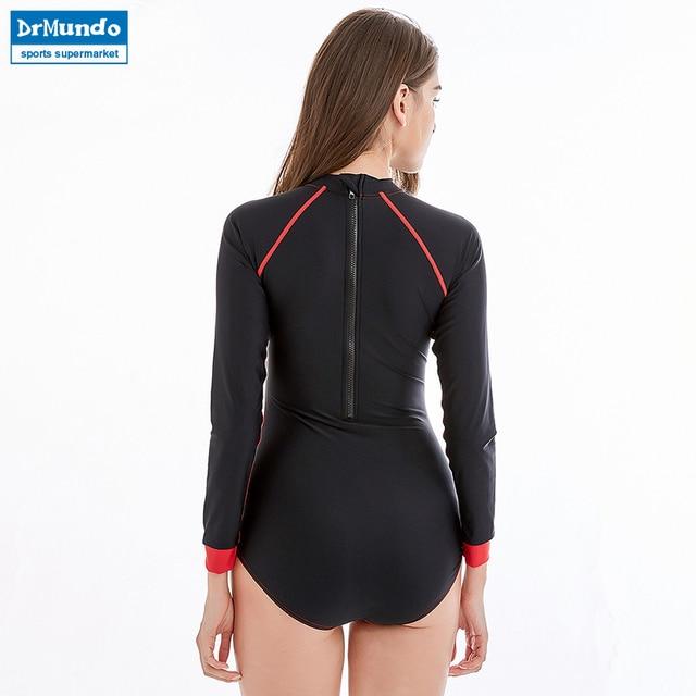 New Women Swimsuit Rashguard Long Sleeve Surfing Bodysuit One Piece Beach Swimwear UPF50+ Back Zipper Rash Guard